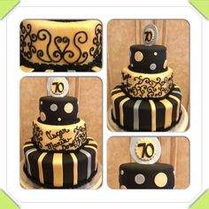 70th birthday cake. Black, gold, silver. Stripes, scroll work, dots.  www.facebook.com/cakeitorleaveitcakesbymarianne