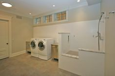 Dog Bath Design, Traditional Laundry Room Combine With Dog Washing Station Also White Tiling Wall And Divider With Marble Accent Also Hi Tech Washing Machines And Stainless Laundry Cabinet And Drawers: Ideas for Dog Wash Station Pantry Laundry Room, Laundry Room Design, Laundry Area, Laundry Rooms, Animal Room, Dog Bath Tub, Dog Bathroom, Bath Tubs, Crazy Home