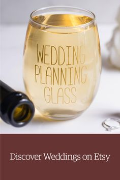 Stemless wedding planning wine glass for engagement gift or bridal shower. Shop weddings on Etsy.