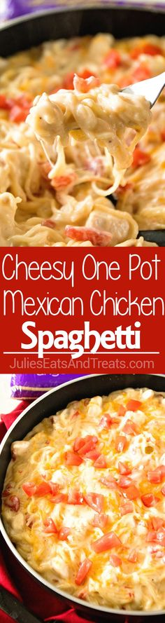 One Pot Mexican Chicken Spaghetti ~ Delicious One Pot Pasta Recipe with Mexican Flavor! Creamy, Mexican Chicken Spaghetti Recipe with a Kick is on the Table in 30 Minutes! via @julieseats
