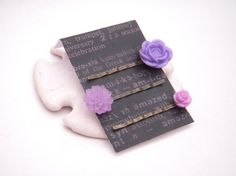 Purple hair pin set with roses and a dahlia -3 piece set- by CherryBlossomMuse, $8.99