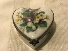 Rochard Limoges France Heart Shaped trinket Box