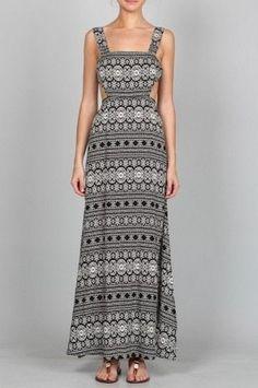 En Créme Black Print Maxi Dress