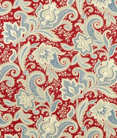 "Home at Last collection: Cotton fabric for shower curtain and bathroom curtain upstairs? Blue walls, white sconces, and one red pendant. Seems the right blend. $21.65/yd. 54""W At onlinefabricstore.net"