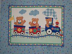 All Aboard Teddy Bear Train Quilt Panel Nursery Baby Fabric