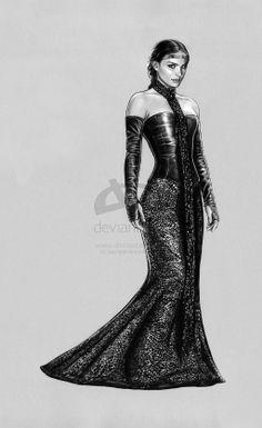 padme -Black Leather Gown by jasonpal.deviantart.com on @deviantART