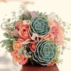 Pretty pink and peach rose and succulent bouquet, perfect for a mint green and peach wedding theme. {First Comes Love Photo Photography}