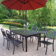 $1701 Shop Oakland Living 7-Piece Slat-Seat Wrought Iron Patio Dining Set at Lowes.com
