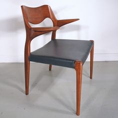 Moller teak dining chair set - 55 and 71 - with new grey leather. www.midcenturyhome.co.uk