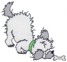Fluffy Puppies 11 single machine embroidery design for instant download.