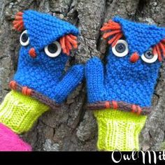 Owl Mittens Knitting Patter.. he he he cranky owls!