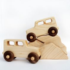 wooden toy trucks and boulders, 2 trucks, three boulders
