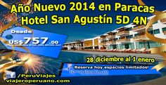 Paquete de año nuevo en el Hotel San Agustín de Paracas, una excelente alternativa para salir de la rutina cerca de Lima. El programa incluye 4 noches de alojamiento en este hotel de primerísima calidad ubicado cerca de la bahía de Paracas, además la cena y fiesta de fin de año están aseguradas.