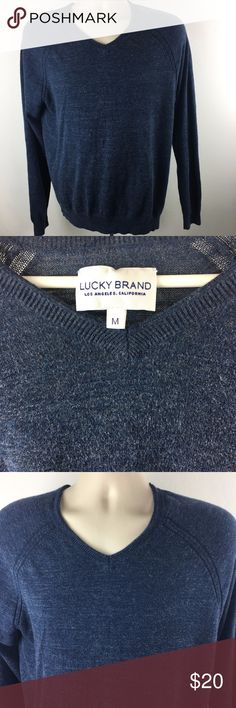 Lucky Brand men's navy v-neck sweater Lucky Brand men's v-neck navy blue sweater, size medium.  In very good used condition.  100% cotton.  Machine wash cold, tumble dry low.  Length: from shoulder to bottom of sweater: 29 inches Chest: from underarm to underarm: 21 inches Sleeves: from neck over the shoulder to bottom of sleeve: 33 inches Lucky Brand Sweaters V-Neck