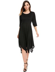 Black O-Neck Flare Short Sleeve Irregular Hem Loose Casual Dress
