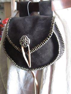 Handmade Leather Belt Pouch Bag Brown with Celtic Knot Button, Belt Pouch, Renaissance Festivals, SCA, LARP. $50.00, via Etsy.