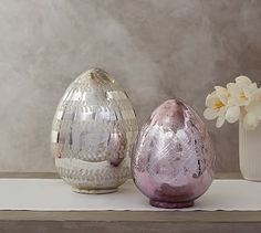 Lit Etched Mercury Eggs #potterybarn