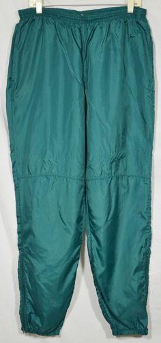 NIKE Men's Green Nylon Track Pants XL Elastic Drawstring Waist Zipped Hems #Nike #TrackSweatPants