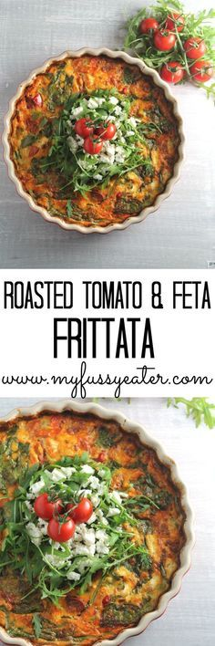 A delicious and healthy frittata or crustless quiche, made with roasted tomatoes, feta cheese and spinach. A great way to use up leftovers. love eating this for dinner as well! Veggie Recipes, Vegetarian Recipes, Cooking Recipes, Healthy Recipes, Greek Recipes, Healthy Frittata, Frittata Recipes, Spinach Frittata, Cheese Quiche