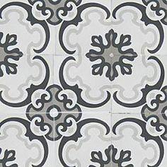 Theodor    Theodor-flisen består av fire farger; hvit, sort, grå og lysegrå. Det store mønsteret beveger seg over flere fliser og skaper et mønster av store og små blomster.