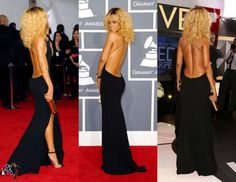 Celebrity - RIHANNA in Black Backless gown dress