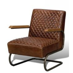 harrison chair -- top grain leather quilted lounge chair with oak wood arm rest