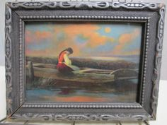 Lovely Vintage Miniature Framed Print  Contemplating by nimasonry