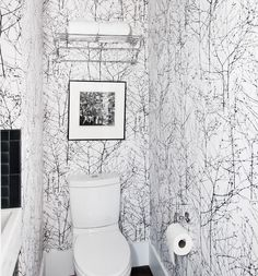 Powder Room Wallpaper Design Ideas, Pictures, Remodel and Decor Closet Wallpaper, Powder Room Wallpaper, Bathroom Wallpaper, Tree Wallpaper, Cloakroom Toilet Downstairs Loo, Laundry Room Bathroom, Narrow Bathroom, Bathrooms, Conservatory Decor Small