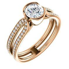 0.75 Ct Round Diamond Engagement Ring 14k Rose Gold