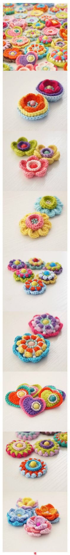 cute crocheted flowers and hearts!