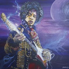 Purple Haze - Mr Hendrix- Painting by Grant Netherlands contact Grant email:gnethrelands1@gmail.com Purple Haze, Netherlands, Fine Art, Painting, The Nederlands, The Netherlands, Painting Art, Paintings, Holland