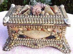 1800's Sailor Valentine Victorian LARGE Shell Art Chest shape box with Mirror.