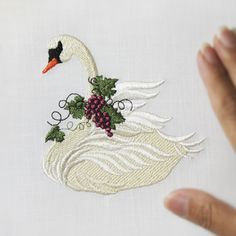 Christmas Pine Swan Machine Embroidery Embroidery