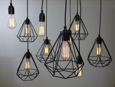 Diamant geometrischen Industrie Jahrgang Licht / Lampe Kafig / Schutz Schwarz: Amazon.de: Beleuchtung