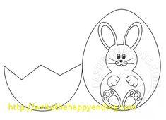 Easter bunny inside a cracked egg Easter Template