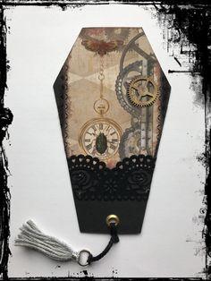 Sarg-Lesezeichen #Steampunk #Vintage #Gothic #Käfer #Zahnrad #VivelaVigo Steampunk, Gothic, Vintage, Word Reading, Craft, Casket, Marque Page, Creative, Goth