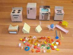 OLD VTG TIN LITHO TOY DOLLHOUSE MINIATURE FURNITURE APPLIANCE PART REPAIR LOT