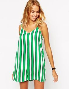 ASOS Romper with Strappy Back in Bold Stripe