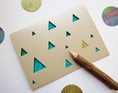 Luxe Triangle Blank Note Card - Emerald and Sand by Ashley Pahl