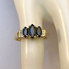 10k Yellow Gold Triple Marquise Blue Sapphire Diamond Ring Size 7 1/4  2.9 Gram - Marquise Ring - Ideas of Marquise Ring #marquisering #ring #jewelry -  0  The post 10k Yellow Gold Triple Marquise Blue Sapphire Diamond Ring Size 7 1/4  2.9 Gram appeared first on Awesome Jewelry. Marquise Diamond, Sapphire Diamond, Blue Sapphire, Rings With Meaning, 1 Carat, Eternity Ring, Wedding Bands, Engagement Rings, Yellow