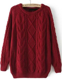 Fall Fashion Cable Knit Loose Burgundy  Red Sweater