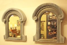 Beautiful Pair of Large Antique Zinc Dormer Windows as Mirrors.  Lucas Street Antiques Lucas Dr Dallas, Texas 75219 (214) 789-5185