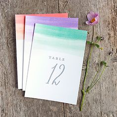 DIY Table numbers - color wash style. Free printable to download. Print on cardstock and use. Includes numbers 1 to 20. Available in your choice of four colors.