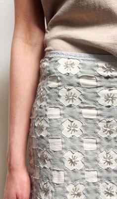 No tutorial. Alabama Chanin style Check Skirt.