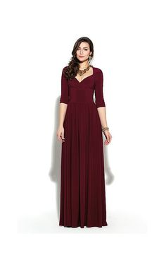 Long burgundy bridesmaid dress with sleeves by AliceBerryFashion