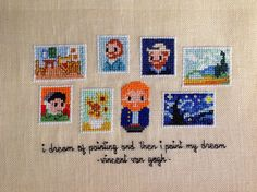 A needle and some thread: Cloudsfactory's Mini Artist Galleries - Vincent Van Gogh. This will hang on my wall as soon as I mound it to frames. :)