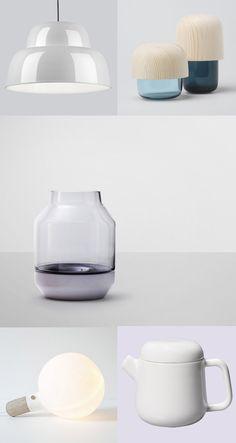 Levels lamp | One Nordic Company —  Tatti containers |  Katriina-Nuutinen, Kaamosgroup —  Elevated Vase | Muuto —  S-Lamp | Jomi Evers Solheim —  Teapot | Kinto