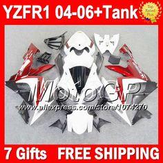 Купить товар7 подарки + для YAMAHA 04 06 YZF R1 темно красный 04 05 06 YZF 1000 P101127 YZF1000 YZF R1 YZFR1 2004 темно красный белый 2005 2006 обтекателя в категории Щитки и художественная формовкана AliExpress.                              Удостоверение личности aliexpress: MotoGP