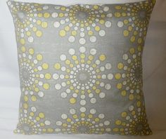 Grey & yellow throw pillow