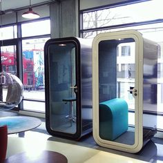 Two beautiful Framery phone booths ready to view in our #London showroom #Framery #acoustics #OpenPlanOffice #FrameryFinland